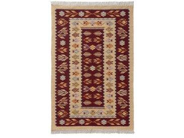 Kelim-Teppich Tulum aus Baumwolle in Rot