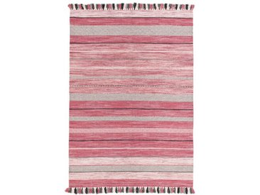 Handgefertigter Kelim-Teppich Ekrem aus Baumwolle in Rosa