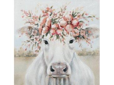 Leinwandbild Kuh mit Blumenperücke
