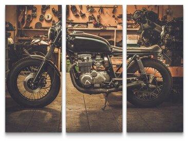 3-tlg.Leinwandbilder-SetCafe Racer Motorrad in Garage