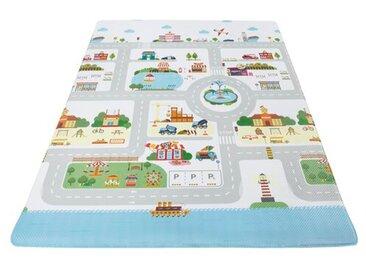 Kinder-Teppich Spielmatte Boulevard Weich in Grün/Blau/Grau