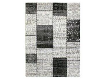Flachgewebe-Teppich Patchwork in Grau