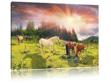 """Leinwandbild """"Pferde in den Bergen"""", Grafikdruck"""