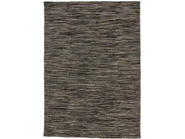 Handgefertigter Kelim-Teppich aus Baumwolle in Grau/Schwarz