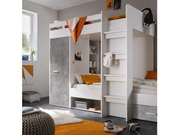 Etagenbett Hebert mit Regal und Schubladen