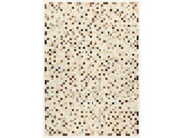 Teppich Patchwork aus Baumwolle in Grau/Beige