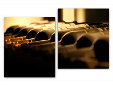 2-tlg. Leinwandbilder-Set Weinflaschen