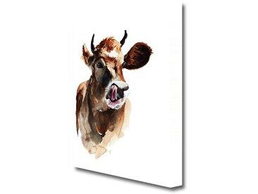 Leinwandbild Kuh zeigt Zunge