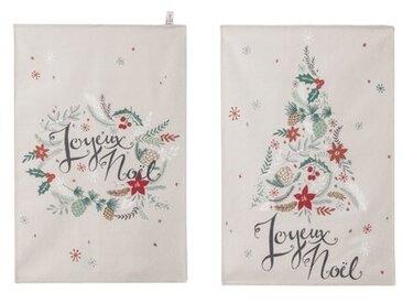 2-tlg. Geschirrtuch-Set Merry Christmas und Christmas Tree