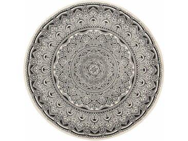 Handgefertigter Teppich aus Baumwolle in Schwarz/Cremefarben