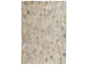 Handgefertigter Teppich Esquibel aus Kuhfell in Grau