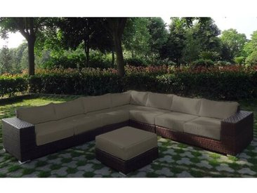 6-Sitzer Lounge-Set Krug aus Polyrattan mit Polster