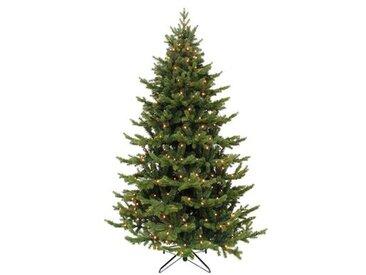 Künstlicher Weihnachtsbaum 150 cm Grün mit 120 LEDs Weiß und Ständer Deluxe