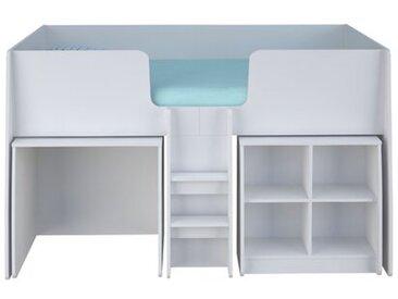 Halbhochbett Alessandro mit Bücherregal und Schreibtisch, 90 x 195 cm