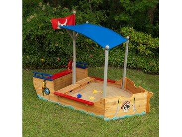 Bootförmiger Sandkasten mit Abdeckplane