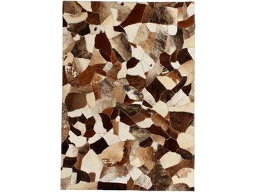 Handgefertigter Teppich Esteves aus Kuhfell in Braun/Weiß