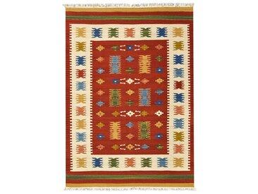 Handgefertigter Kelim-Teppich aus Wolle in Rot