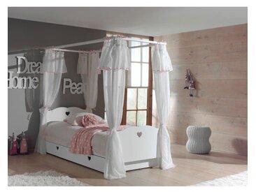 Himmelbett Aldridge mit Lattenrost, Bettschublade und Textil-Vorhängen, 90 x 200 cm