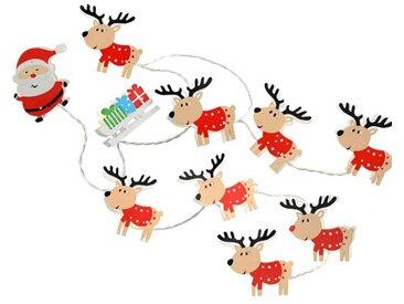 LED-Lichterkette Santa Sleigh and Named Reindeer