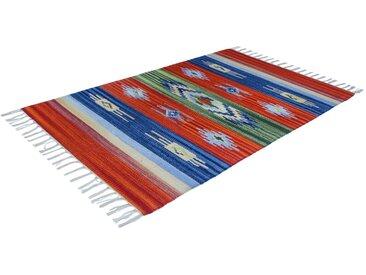 Handgefertigter Teppich aus Baumwolle in Rot/Grün