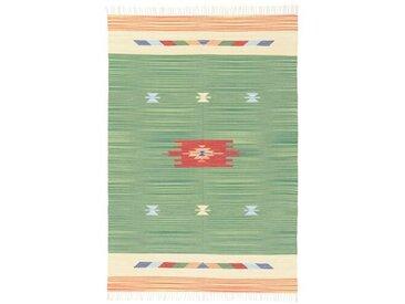 Handgefertigter Kelim-Teppich DuClaw aus Wolle in Grün