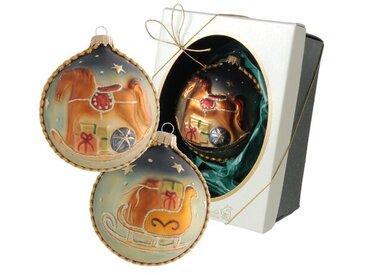 Weihnachtsbaumkugeln Schaukelpferd mit Borte