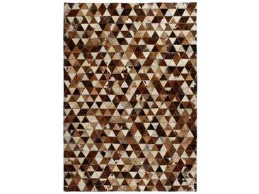Handgefertigter Teppich Estabrook aus Kuhfell in Braun/Weiß
