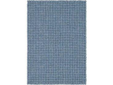 Handgefertigter Teppich Mia aus Schaffell in Hellblau