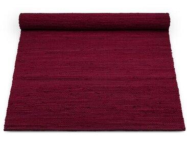 Handgefertigter Teppich aus Baumwolle in Rot