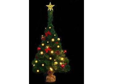 2ft Green Pine Künstlicher Weihnachtsbaum mit 20 warmweißen Lichtern mit Ständer