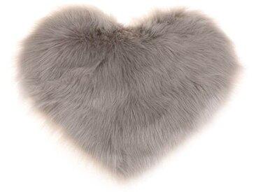 Handgefertigter Shaggy-Teppich Ragnar aus Schaffell in Grau