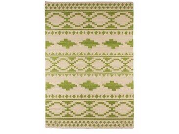 Handgefertigter Kelim-Teppich Trainor in Grün