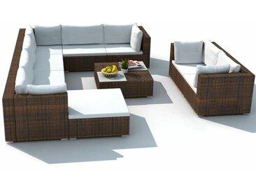 9-Sitzer Lounge Set Frey aus Polyrattan mit Polster