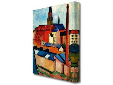 Leinwandbild Marienkirche in Bonn mit Häusern und Schornstein von August Macke
