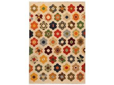 Handgefertigter Kelim-Teppich Star aus Wolle/Baumwolle in Beige