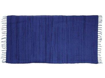 Lea Handgefertigter Teppich aus Baumwolle in Blau