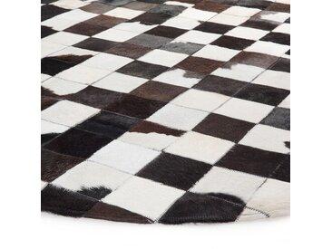 Handgefertigter Teppich aus Baumwolle in Schwarz/Weiß