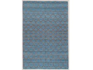 Handgefertigter Teppich aus Wolle/Baumwolle in Grau/Türkis