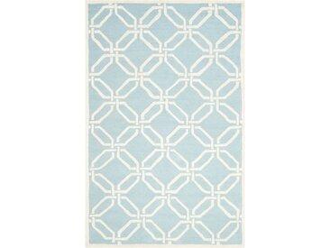Teppich aus Wolle in Hellblau/Elfenbein