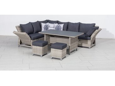 8-Sitzer Lounge-Set Torella aus Polyrattan mit Polster