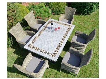 6-Sitzer Gartengarnitur Destiney mit Polster