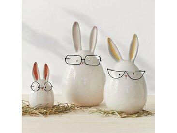 3-tlg. Figuren-Set Hasen mit Brille