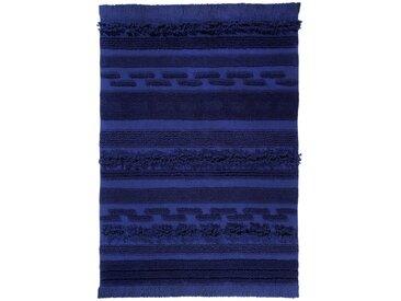 Handgefertigter Flachgewebe-Teppich aus Baumwolle in Navyblau