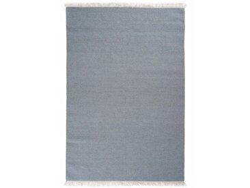 Handgefertigter Kelim-Teppich Wabbaseka aus Wolle in Hellgrau