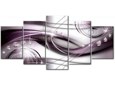 5-tlg. Leinwandbilder-Set Lila Strahlen