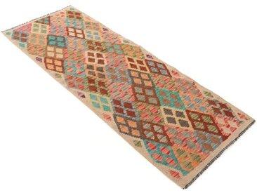 Handgefertigter Kelim-Teppich Seabreeze aus Wolle in Beige/Braun/Blau