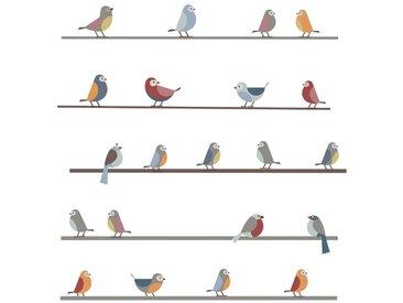 Wandaufkleber Kleine Vögel auf Leitungen
