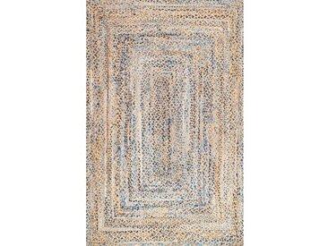 Handgefertigter Teppich aus Baumwolle in Blau/Elfenbeinfarben