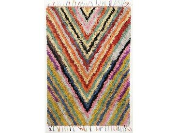 Handgefertigter Kelim-Teppich Natchitoches Streifen aus Baumwolle