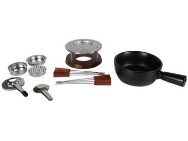 1,5 L Fondue-Set Nero aus Edelstahl, Keramik und Holz